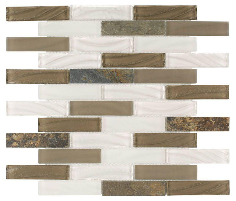 Contemporary Glass Stone Tile Brown