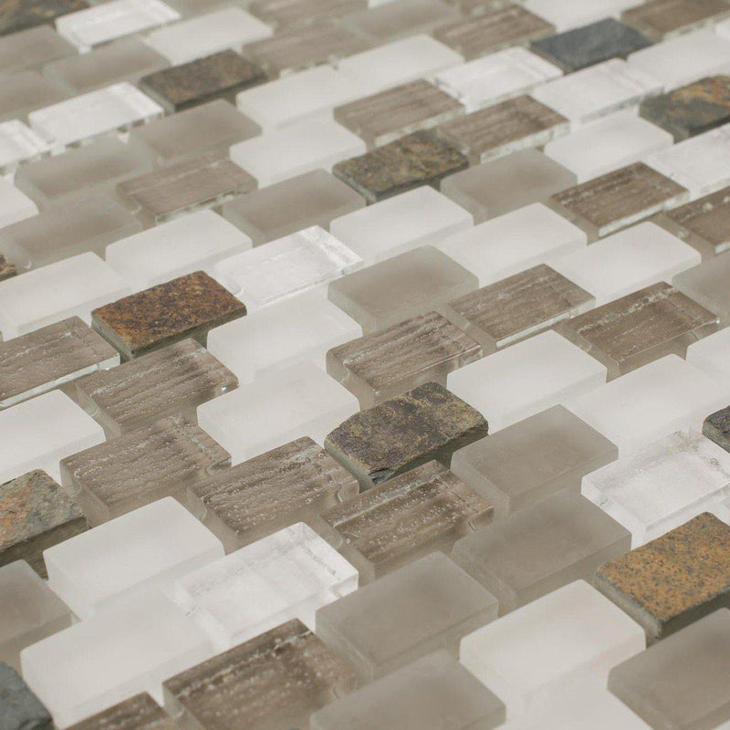 Contemporary Glass Mosaic Tile Mini Brick Taupe Blend
