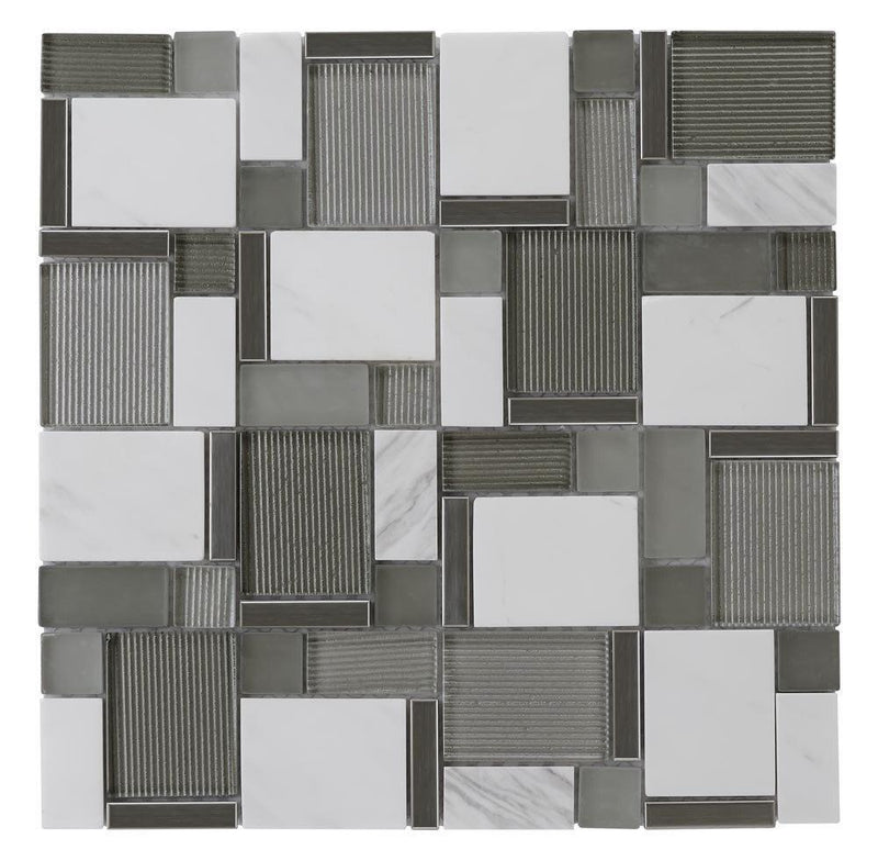 Modern Silver Glass and White Stone Mosaic Tile