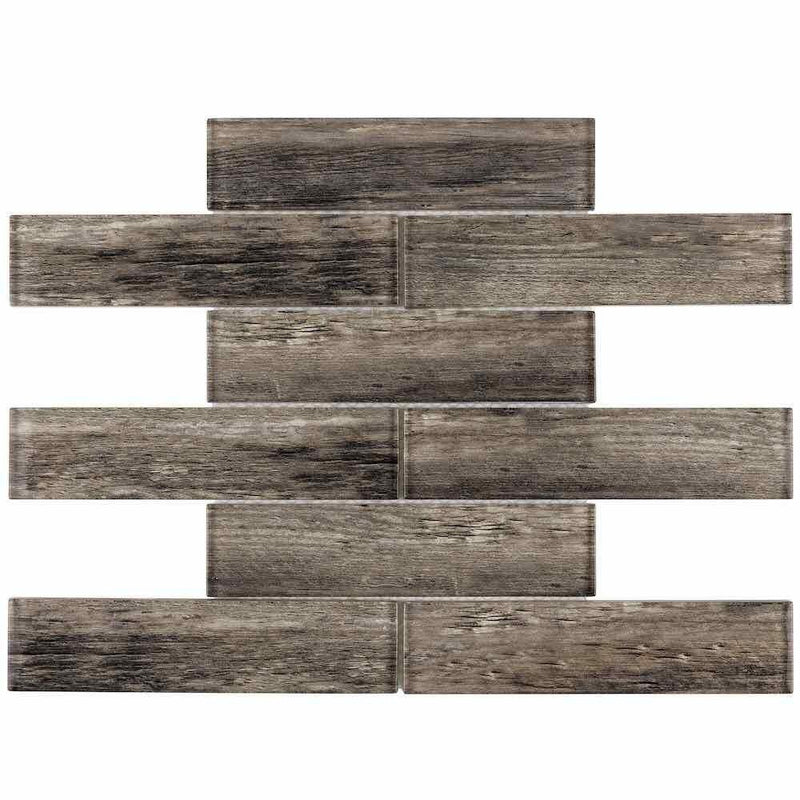Subway Glass Tile Timber Wood 2 x 8
