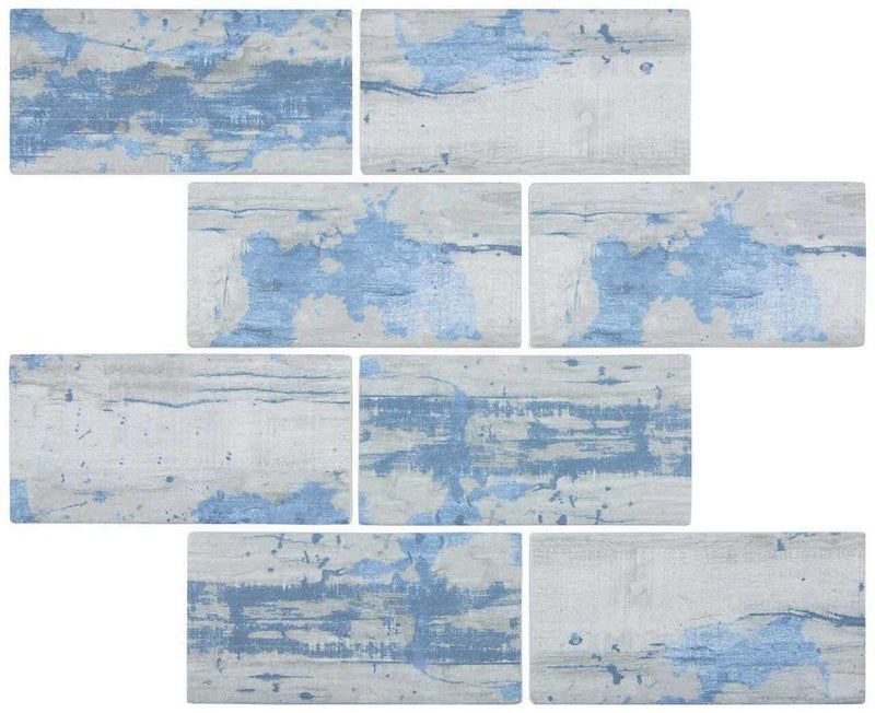 Glass Subway Tile Wood Blue 3x6