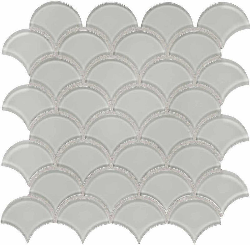 Glass Mosaic Tile Scallop White Moderne