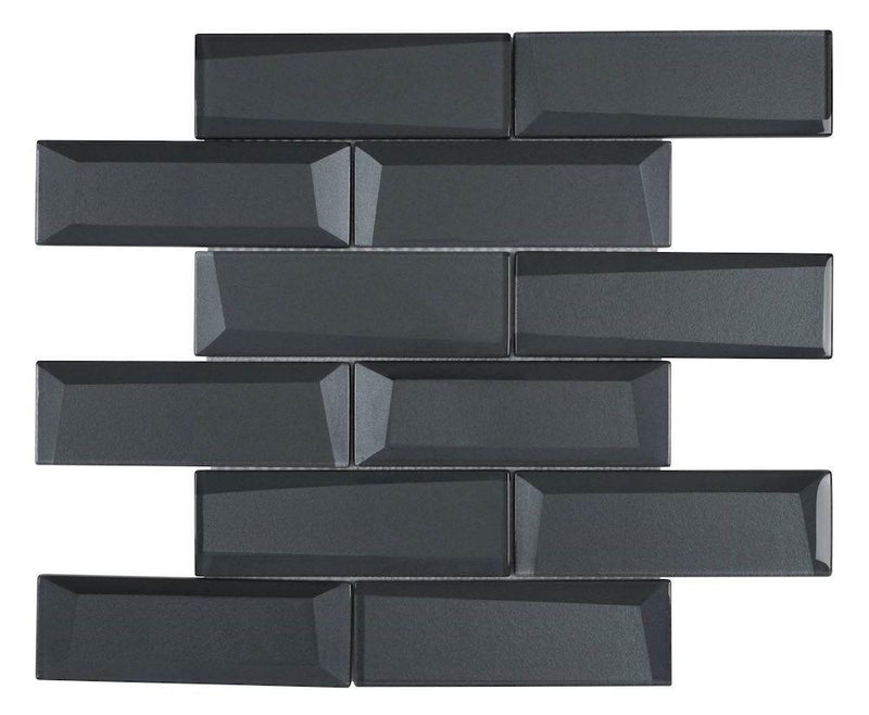 Glass Subway Tile Inverted 3D Coal 2x6