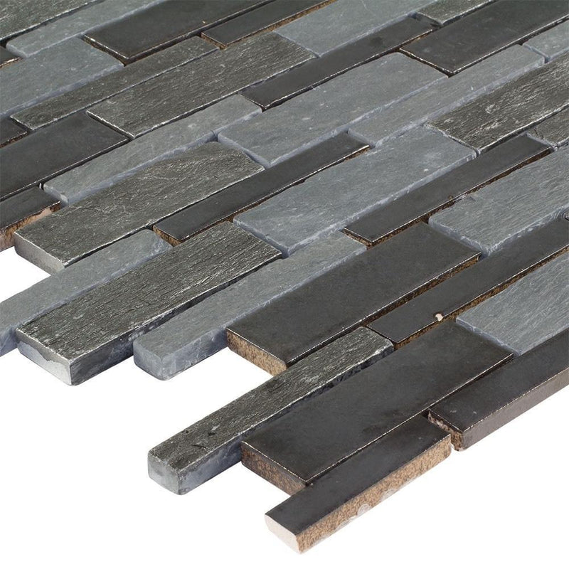 Mosaic Wall Tile Linear Charcoal