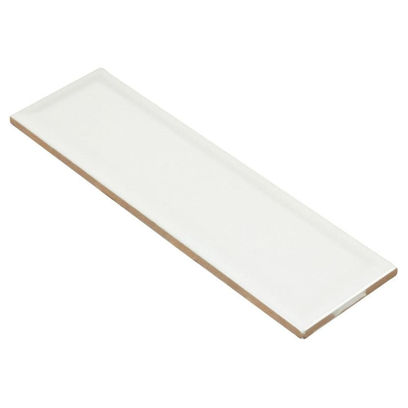 Subway Ceramic Tile White Matte Beveled 3 x 10