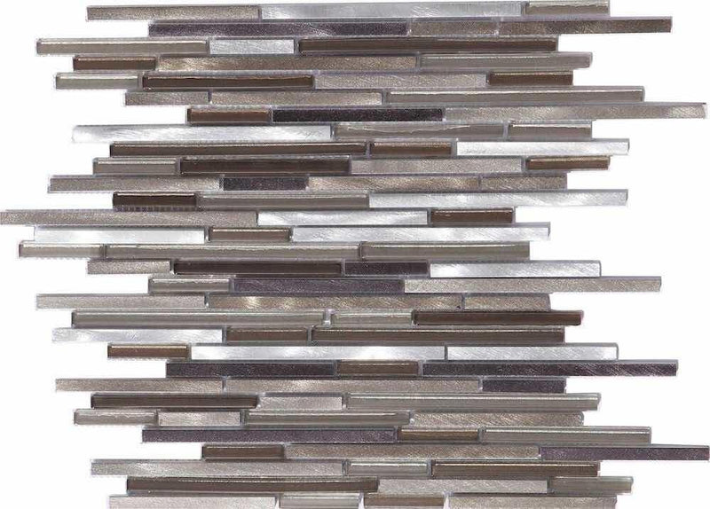 Aluminum Glass Mosaic Tile Champagne Mix Slim