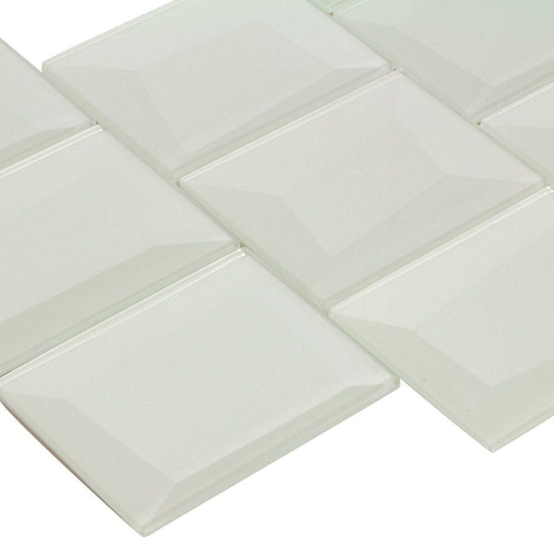 Glass Wall Tile Dimensional White