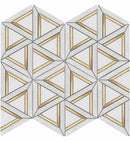 Inlay Brass Gold Triangles White Tile