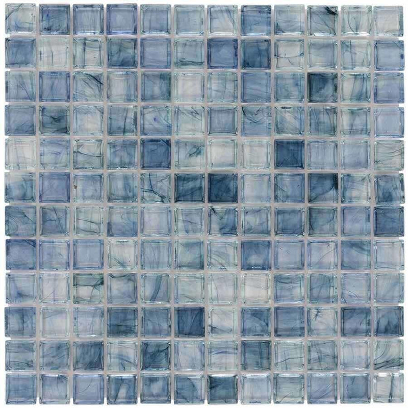 Clear Glass Mosaic Tile Stained Sky Blue 12x12