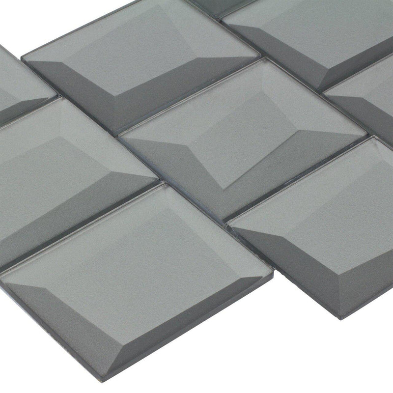 Glass Wall Tile Dimensional Grey