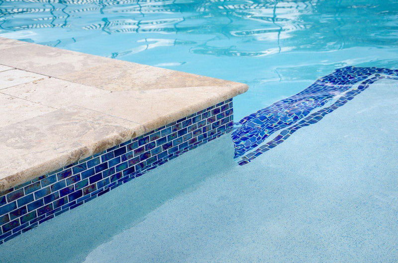 Iridescent Pool Glass Tile Cobalt 1x2