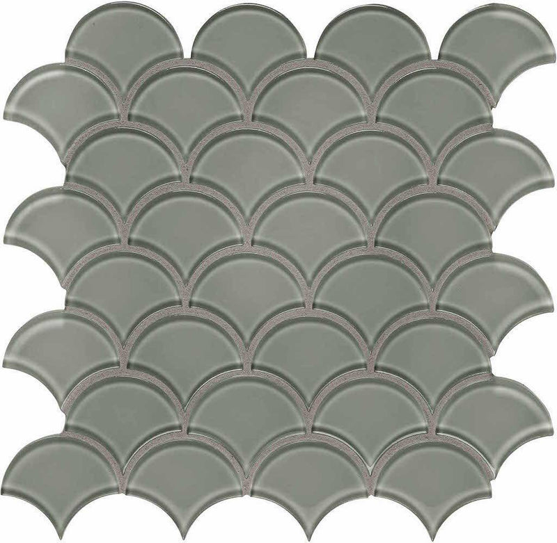 Glass Mosaic Tile Scallop French Gray