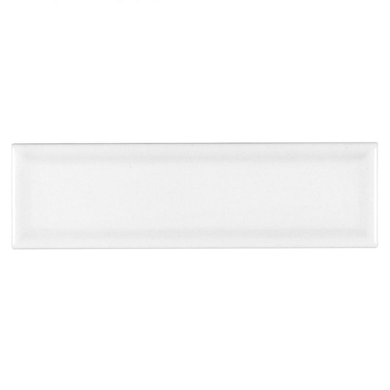 Subway Ceramic Tile White Gloss Beveled 3 x 10