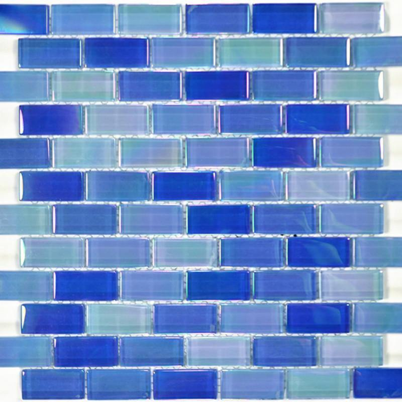 Glass Pool Tile Shimmer Navy Blue 1 x 2