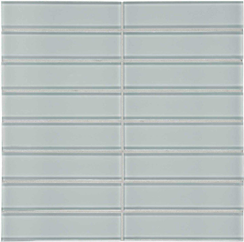 Glass Mosaic Tile Stacked Tender Gray 1.5 x 6