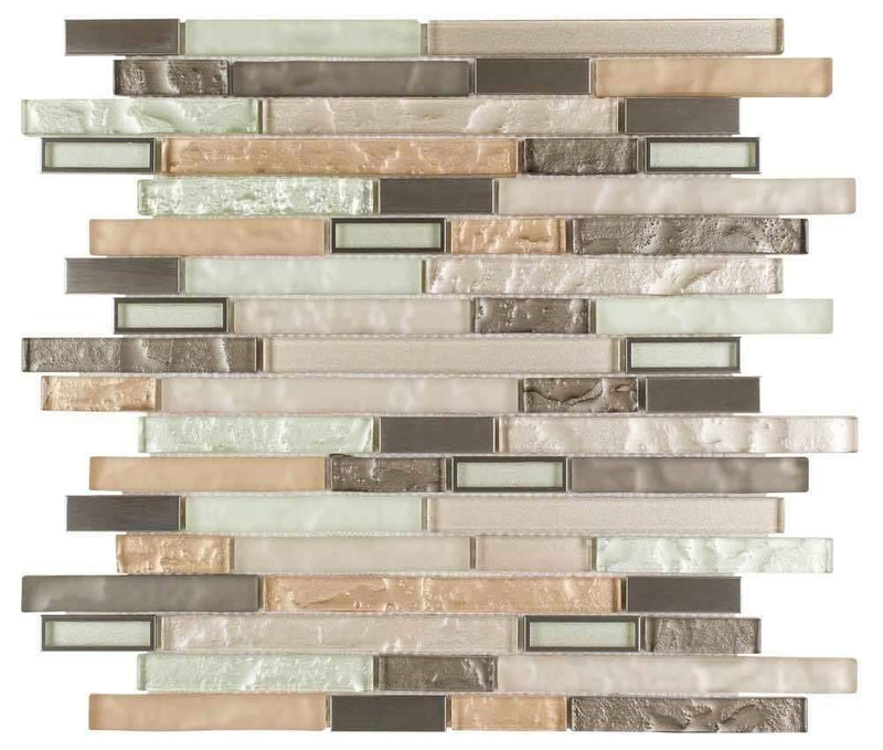Modern Stainless Glass Mosaic Tile Linear Taupe