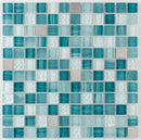 Glass Mosaic Tile Stainless Steel Blend Turquoise