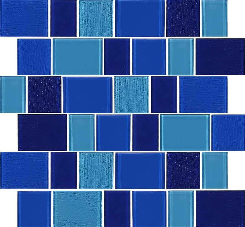 Glass Pool Mosaic Tile Ridge Blue Blend