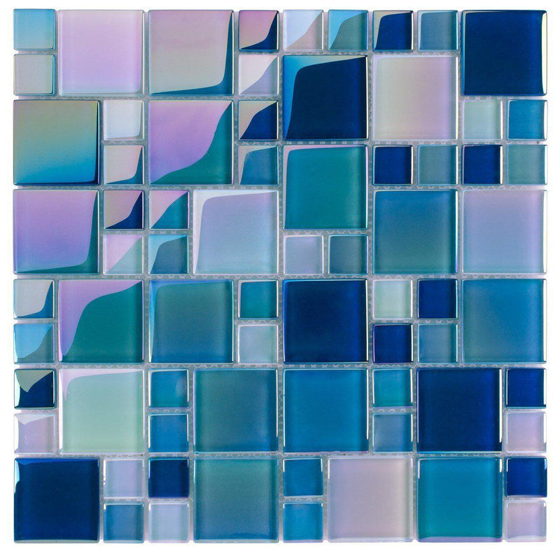 Glass Pool Tile Shimmer Aqua Blue Random