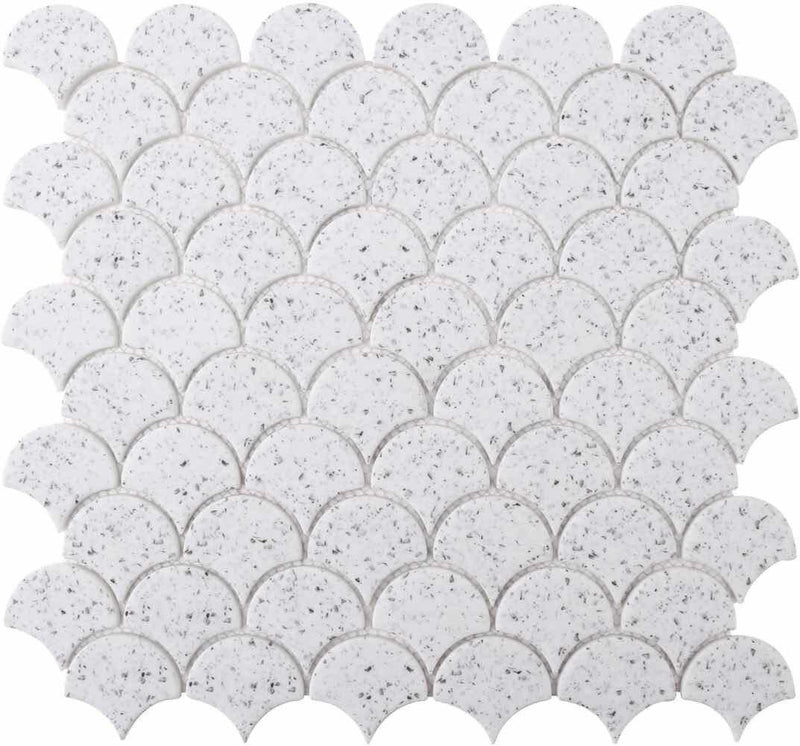 Scales White Recycled Glass Tile