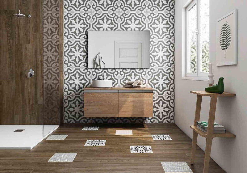 Patterned Floor and Wall Tile Antique Gray 8 x 8