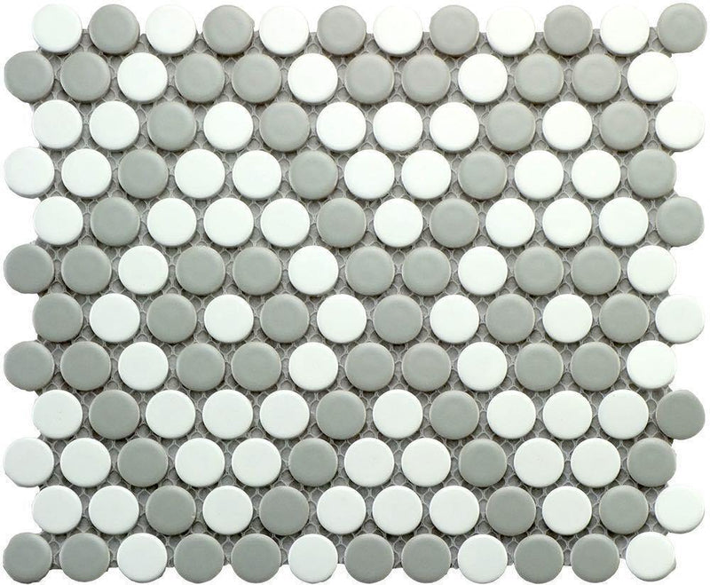 Penny Round Mosaic Tile Grey Pattern 10 x 9
