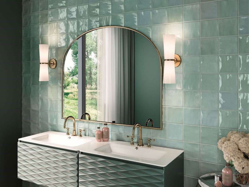 Vintage Bathroom Vanity backsplash featuring a powder blue and green tile