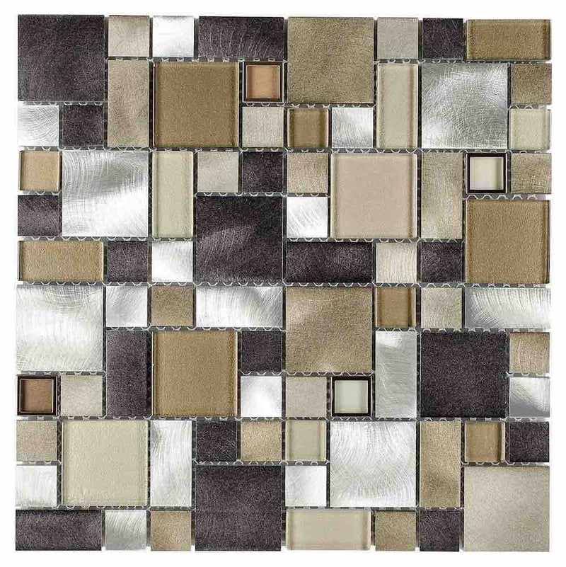Aluminum Glass Mosaic Tile Champagne Mix Pattern for backsplash