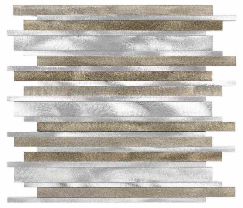 Aluminum Mosaic Tile Modern Bars Taupe for backsplash