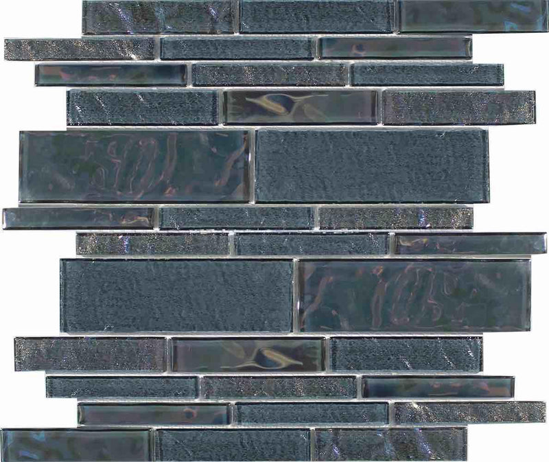 Beach Glass Tile Iridescent Grey Linear