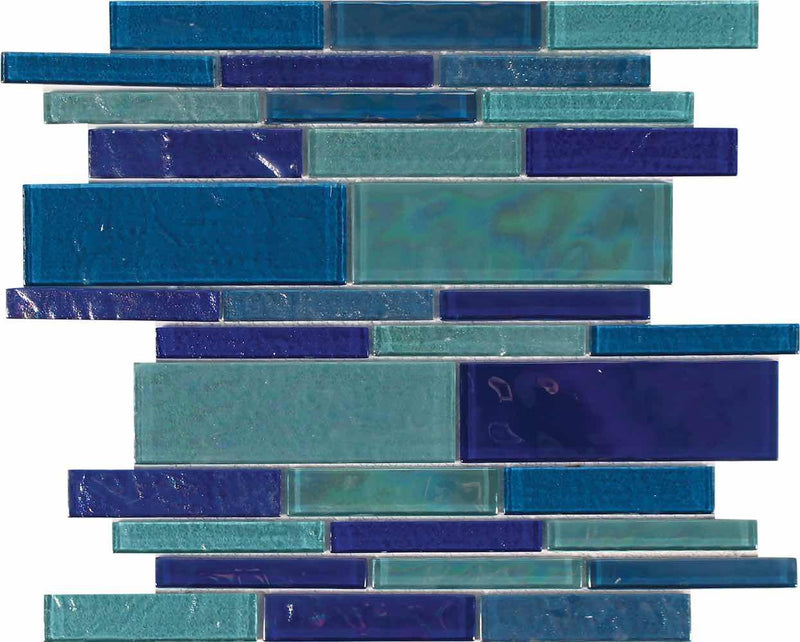 Beach Glass Tile Iridescent Mixed Linear-Mineral Tiles