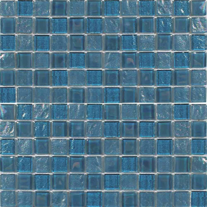 Beach Glass Tile Iridescent Turquoise 1x1