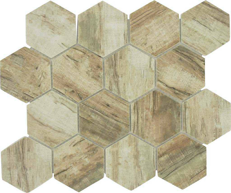 Glass Hexagon Mosaic Tile Wood Ash for backsplash and bathroom.
