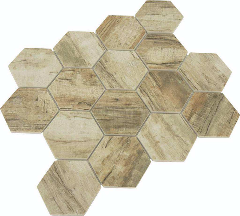 Glass Hexagon Mosaic Tile Wood Ash for shower floor and wall