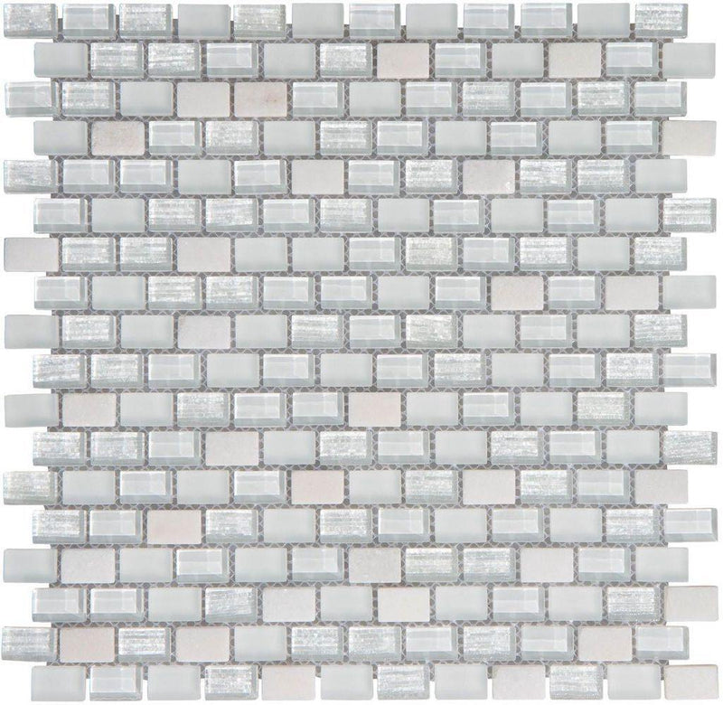 Contemporary Glass Mosaic Tile Mini Brick White Blend