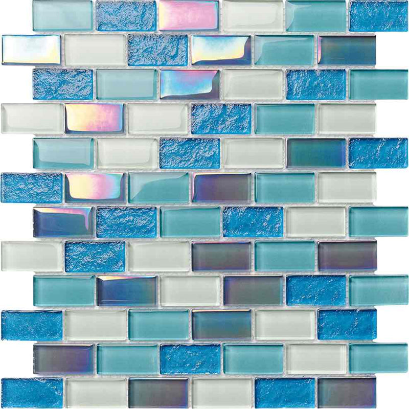 Glass Pool Mosaic Tile Miami Blend 1x2 for swimming pool, bathroom and spa