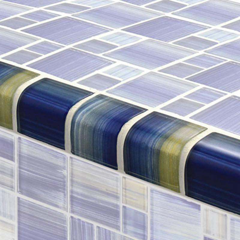 Glass Trim Tile Blue Blend 2x2 for swimming pool and spas