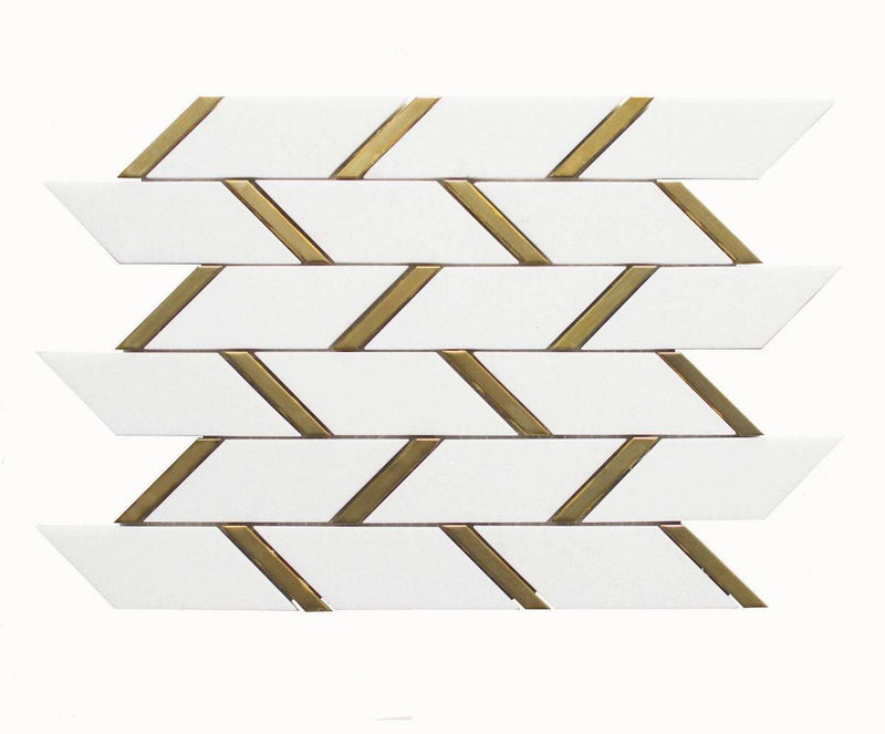 Inlay Brass Gold Bars Thassos Tile