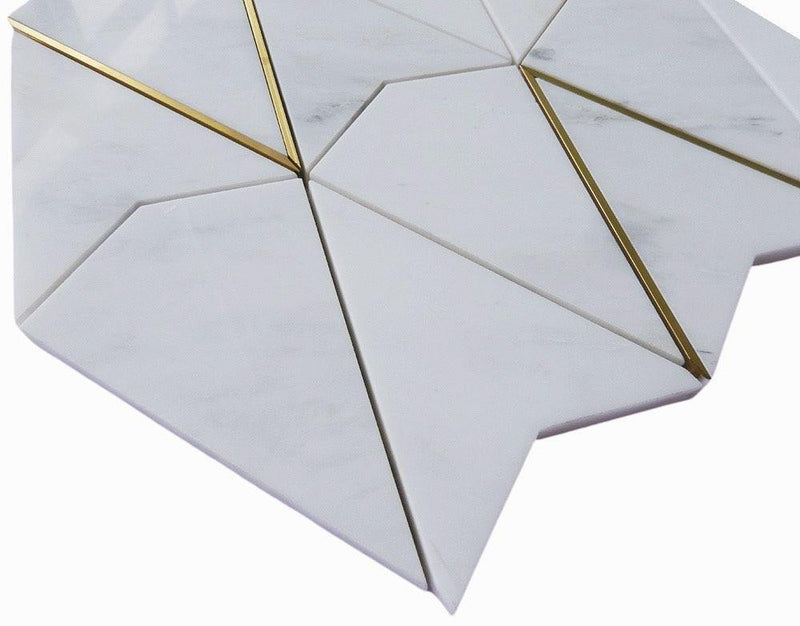 Calacatta Marble and Gold Brass Mosaic Tile Diamond Angle