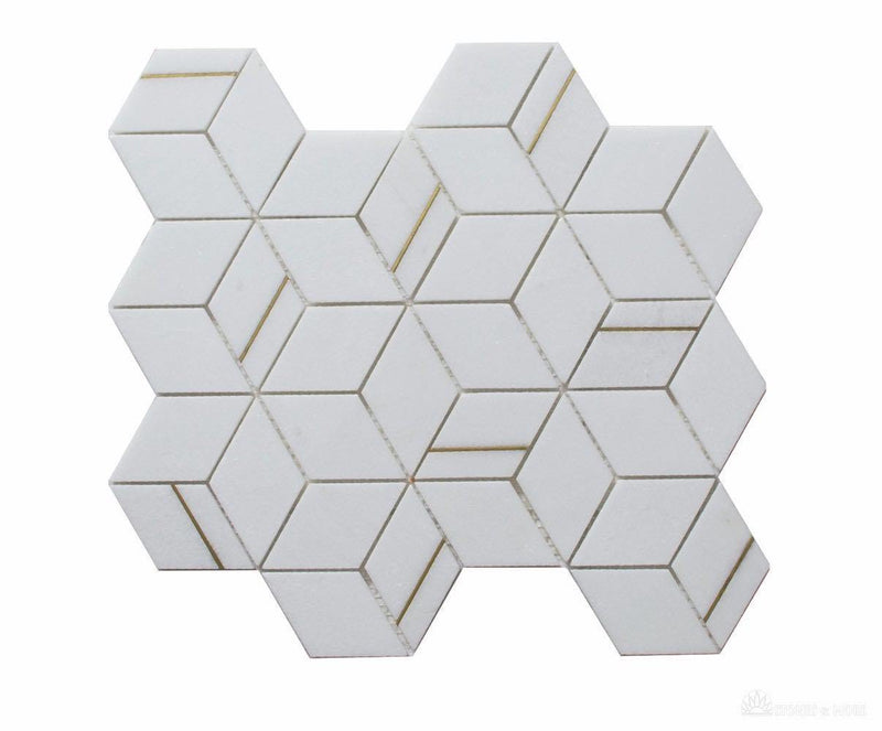 Inlay Brass Gold Cubes Thassos Tile