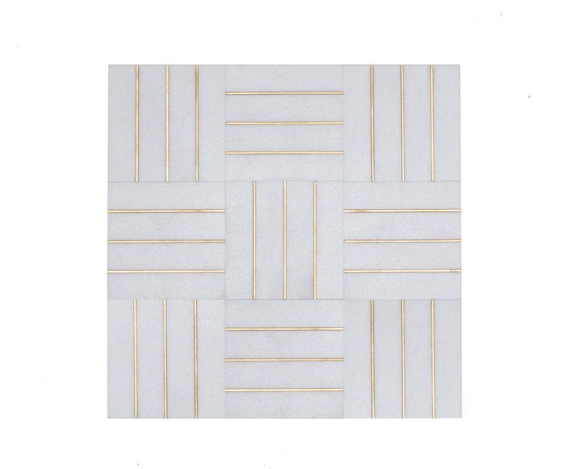 Inlay Brass Gold Deck Thassos Tile