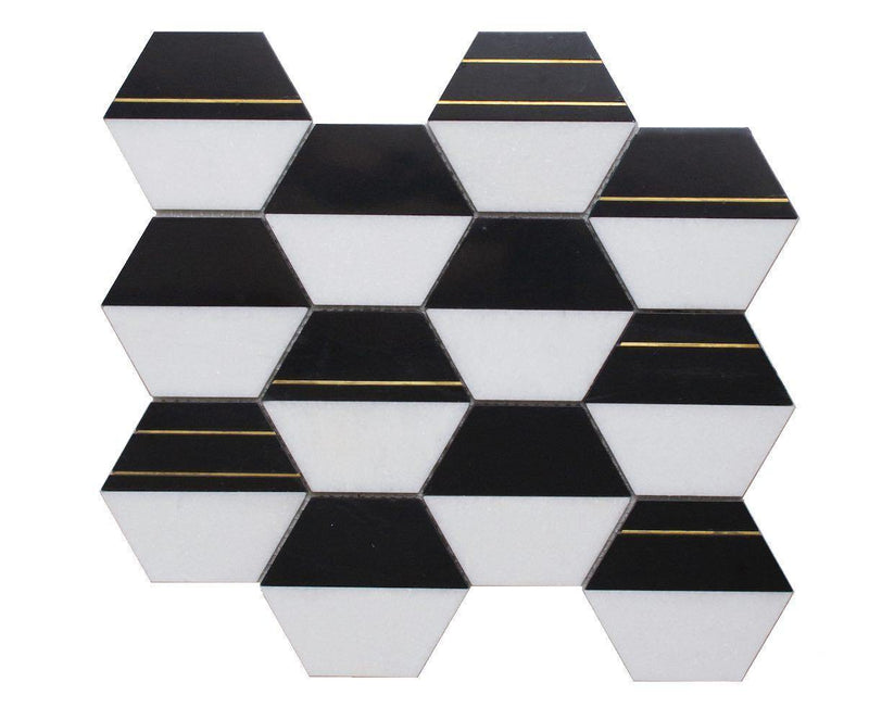 Inlay Brass Gold Hexagon Black and White Tile