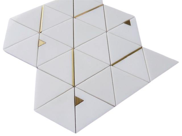 Brass Gold and Marble Thassos White Mosaic Tile