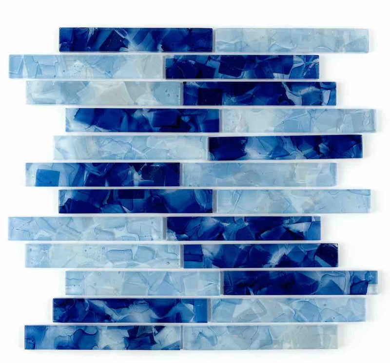 Liquid Glass Mosaic Tile Ocean Blend 1 x 6 for kitchen backsplash, bathroom, shower, and swimming pools.