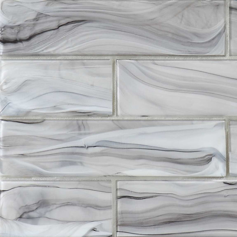 Liquified Glass Subway Tile Storm Matte Finish 3x12 for kitchen backsplash and bathrooms.