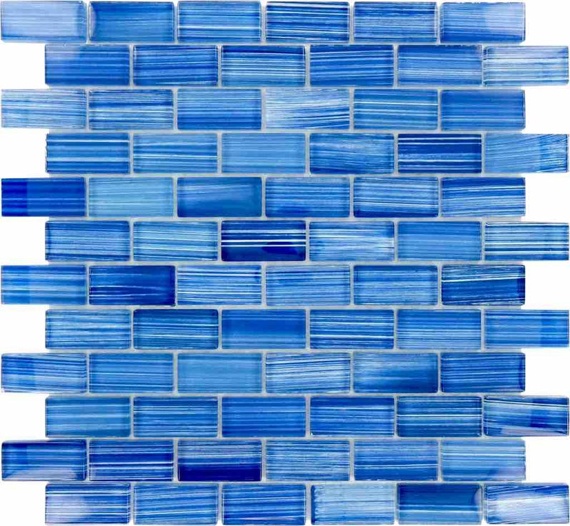 Sea Waters Glass Mosaic Tile 1x2 for pools and spas