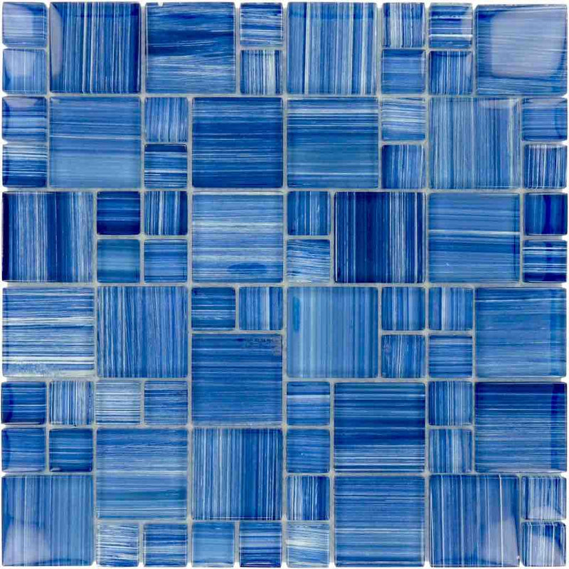Sea Waters Glass Mosaic Tile Pattern for swimming pool and spas