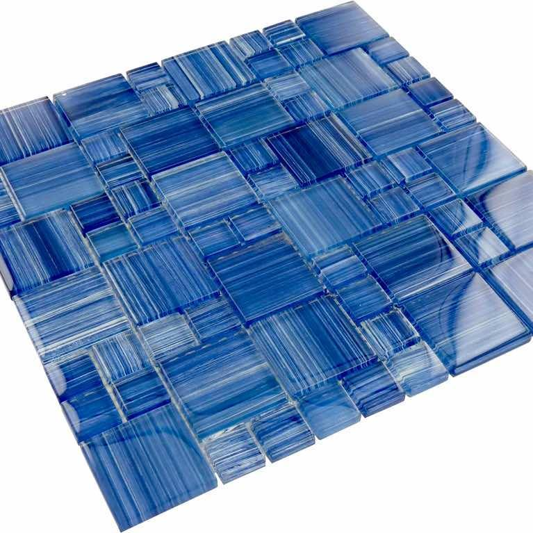 Sea Waters Glass Mosaic Tile Pattern for swimming bathroom and showers