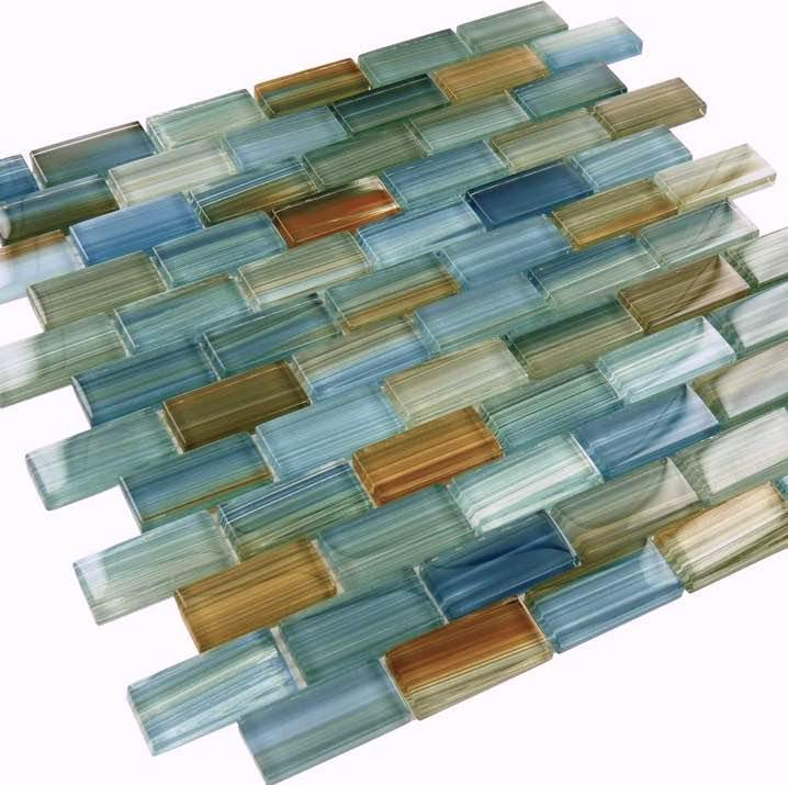 Turquoise Glass Mosaic Tile 1x2 for bathroom and shower