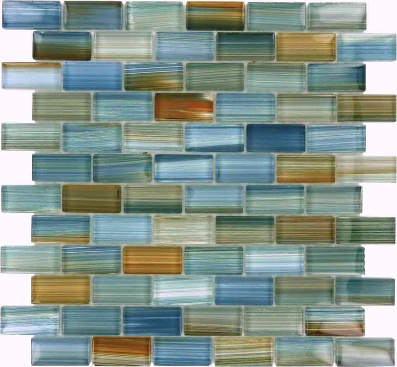 Turquoise Glass Mosaic Tile 1x2 for pools and spas